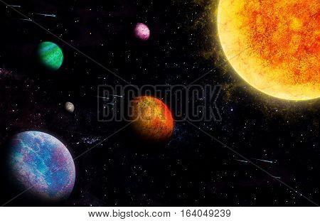 SOLAR SYSTEM ILLUSTRATION. DRAW PLANTES IN BLACK BACKGROUND.