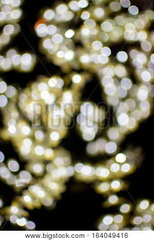 Bokeh Light Gold Defocus At Night Abstract.