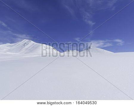 Winter in Greater Caucasus Mountains. Georgia (country). Gudauri ski resort. Perfect powder snowfields