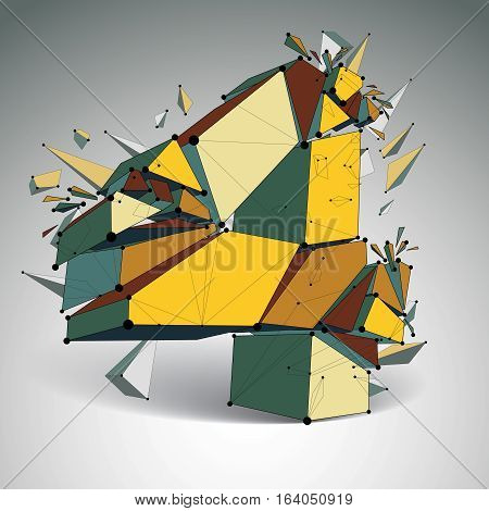 Vector Dimensional Wireframe Number 4, Colorful Demolished Digit With Fragments. 3D Mesh Technology