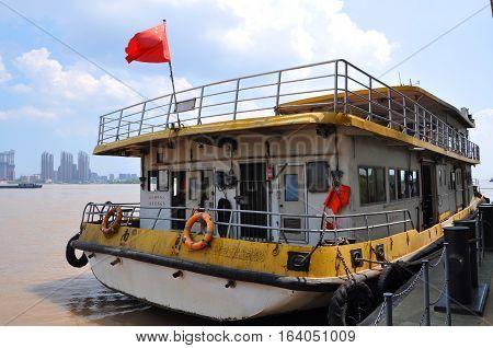 NANJING, CHINA - JUL. 22, 2012: Yangtze River Ferry cross Yangtze River between Zhongshan Wharf and Pukou Wharf in Nanjing, Jiangsu Province, China.