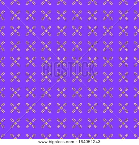 Medical seamless pattern made of capsule pills and crosses on purple background. Pharmaceutical linear symbols. Vector Illustration.