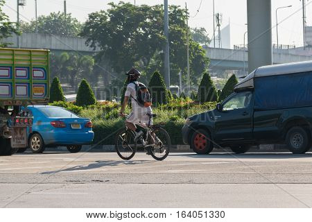 Bicycle At Intersection With Traffic Light
