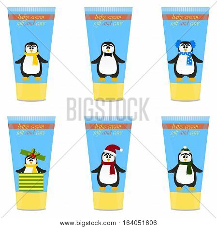 High quality original trendy vector set with Baby cream tube with kids design and pinguin illustration