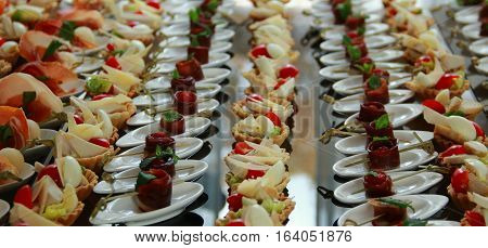 Lines of Savoury Canapes Closeup Stock Photo