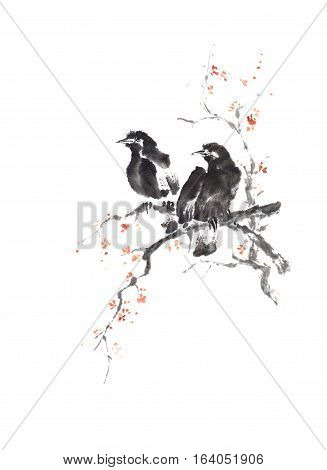 Japanese style sumi-e two crows on blooming tree ink painting. Great for greeting cards or texture design.