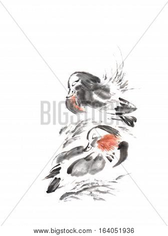 Japanese style sumi-e two mandarin ducks ink painting. Great for greeting cards or texture design.