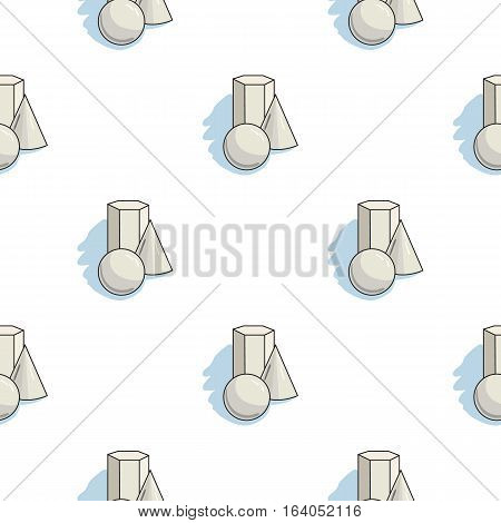 Geometric still life icon in pattern style isolated on white background. Artist and drawing symbol vector illustration.