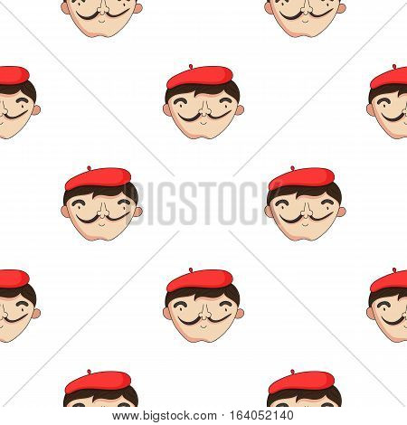 Self-portrait of artist icon in pattern style isolated on white background. Artist and drawing symbol vector illustration.