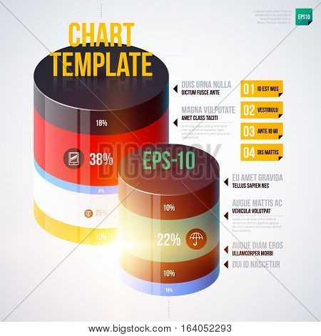 Infographics Chart Template With 3D Cylinders. Useful For Presentations And Advertising.