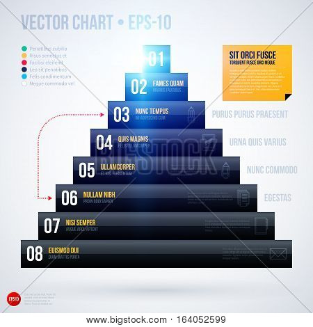 Pyramid Chart Template With Glowing Lights On White Background. Eps10