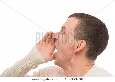 Portrait Of An Evil Man Shouting Isolated On White Background