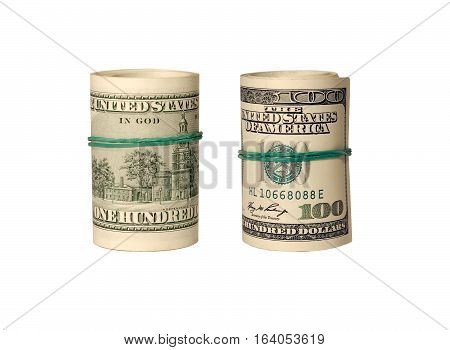 Two american dollars twists isolated on white background