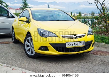 Sochi, Russia - October 11, 2016: New Opel Astra parked on the street of Sochi.
