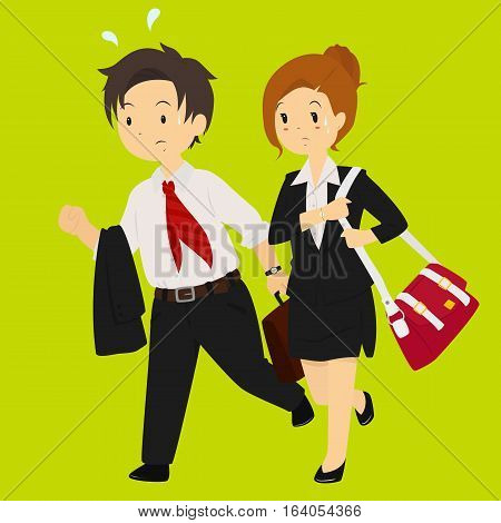 Illustration of a business man and business woman rushing for work.