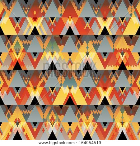 Vector seamless multicolored geometric pattern of red yellow and gray triangles and rhombus. The image of fire bonfire hipster motives gypsy ornament.