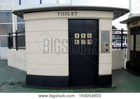 Gibraltar, Gibraltar - December 29, 2016: Public restrooms in the city of Gibraltar.