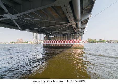 Boat Travel Under Bridge On The Chao Phraya River