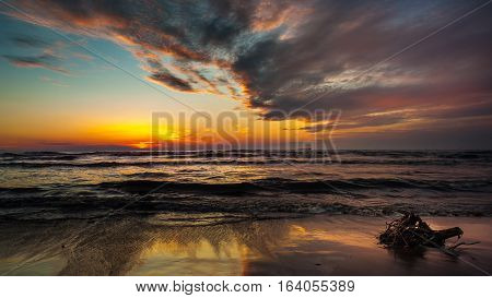 Sunset. Beautiful Sunset Black Sea. Gold Sea Sunset
