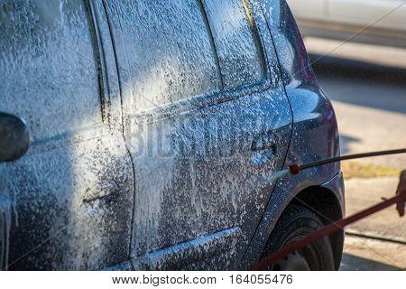 Car Wash With Foam In Car Wash Station