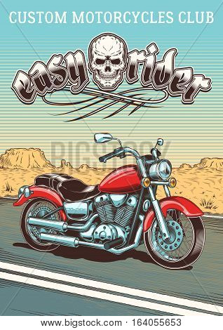 Vector illustration of vintage motorcycle on the background of the desert