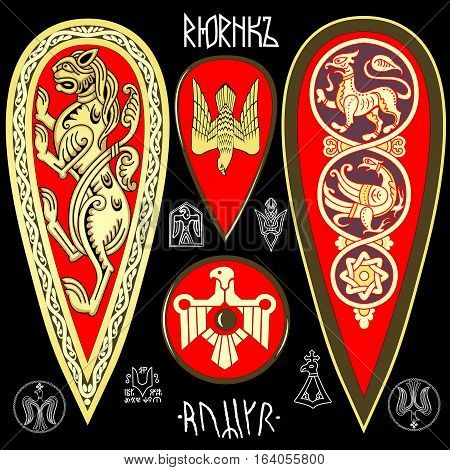 King Rurik symbolics set of signs and shields
