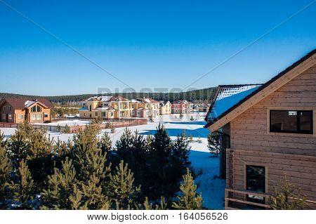 Comfortable neighborhood. Newly Built Suburban Houses during winter time