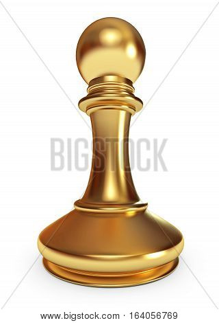 Golden pawn. White background. 3D illustration. Isolated on white background