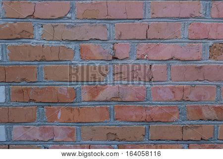texture of a brick wall with small cracks and defects