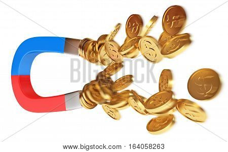 Magnet And Golden Coins