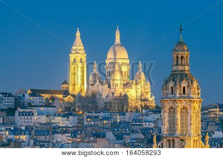 Sacre Coeur on top of Montmartre hill. Paris.