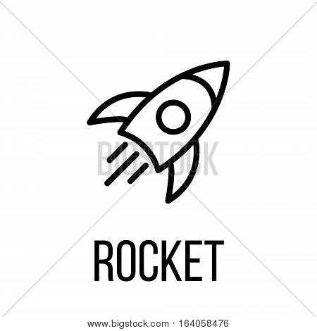 Rocket icon or logo in modern line style. High quality black outline pictogram for web site design and mobile apps. Vector illustration on a white background.