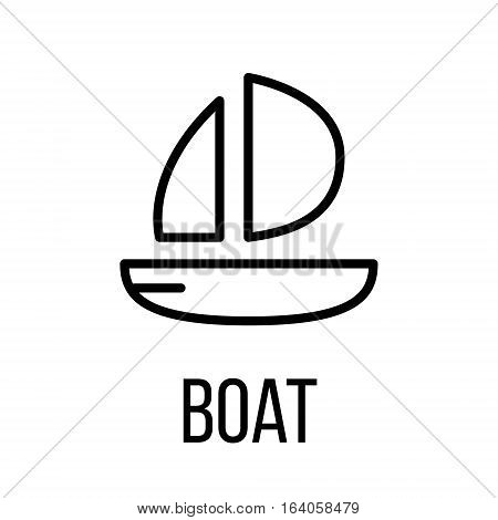 Boat icon or logo in modern line style. High quality black outline pictogram for web site design and mobile apps. Vector illustration on a white background.