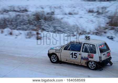 Winter autocross in the village of Podlipki lukhovitsky district of the Moscow region of Russia. January 5, 2017.