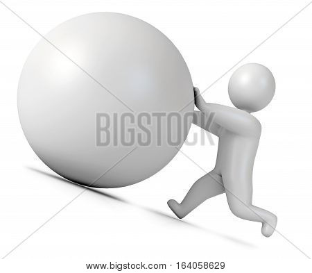 Man Pushing A Boulder As Sisyphus