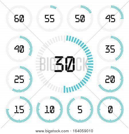 Countdown timer with five minutes interval in modern style. Set of 13 timer icons. Vector illustration on a white background.