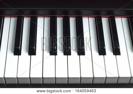 Piano keyboard with white and black keys. Front view closeup