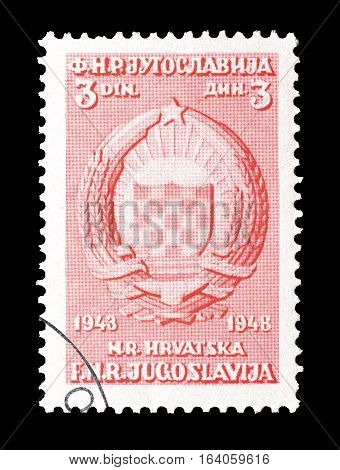 YUGOSLAVIA - CIRCA 1948 : Cancelled postage stamp printed by Yugoslavia, that shows Coat of arms of Croatia.