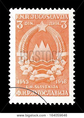 YUGOSLAVIA - CIRCA 1949 : Cancelled postage stamp printed by Yugoslavia, that shows Coat of arms of Slovenia.