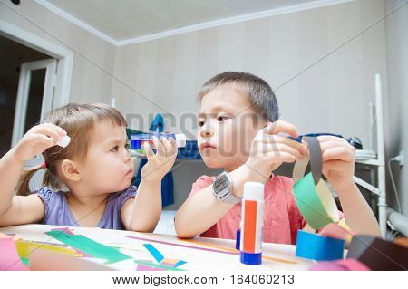 Children Development - Brother And Sister Making Craft