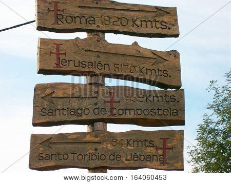 Road sign on the road towards santiago de compostela