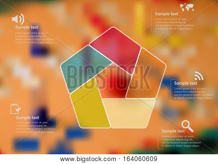 Illustration infographic template with motif of color semi-transparent pentagon divided to five sections. Blurred photo with Ludo game motif board is used as background.