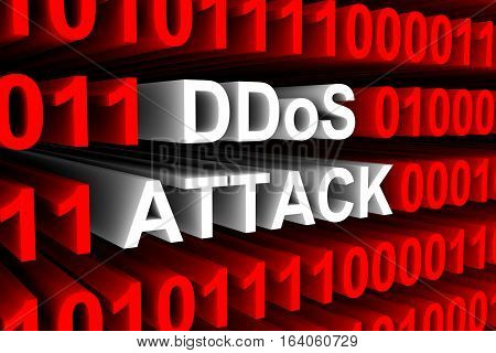DDoS ATTACK in the form of binary code, 3D illustration
