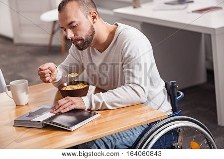 Soaking knowledge. Focused handsome attentive guy having breakfast and reading an art book while sitting at the table in a wheelchair