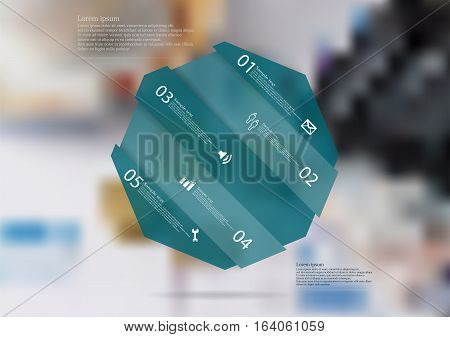 Illustration infographic template with motif of blue semi-transparent octagon askew divided to five sections. Blurred photo with financial motif with charts coins and calculator is used as background.