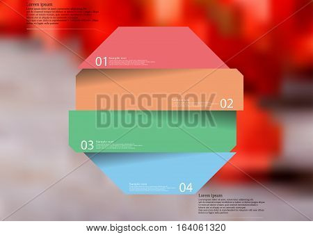 Illustration infographic template with motif of color octagon divided to four sections with simple signs. Blurred photo with natural motif with several red physalis blooms is used as background.
