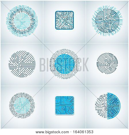 Collection Of Vector Microchip Designs, Cpu. Information Communication Technology Elements With Mult