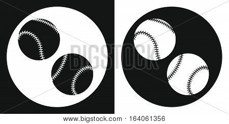 Baseball ball icon. Silhouette baseball ball on a black and white background. Sports Equipment. Vector Illustration