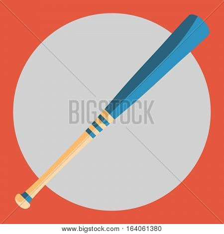 Baseball bat icon. Colorful baseball bat on a red background. Sports Equipment. Vector Illustration