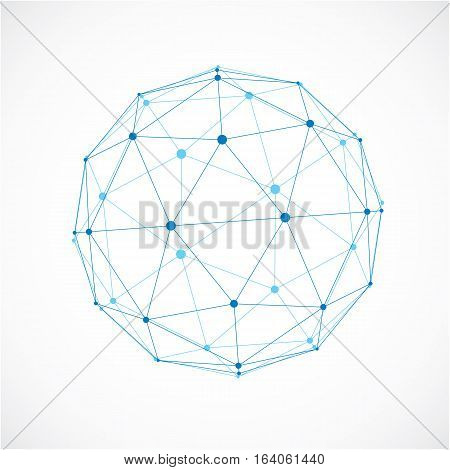 3D Vector Low Poly Spherical Object With Black Connected Lines And Dots, Geometric Blue Wireframe Sh